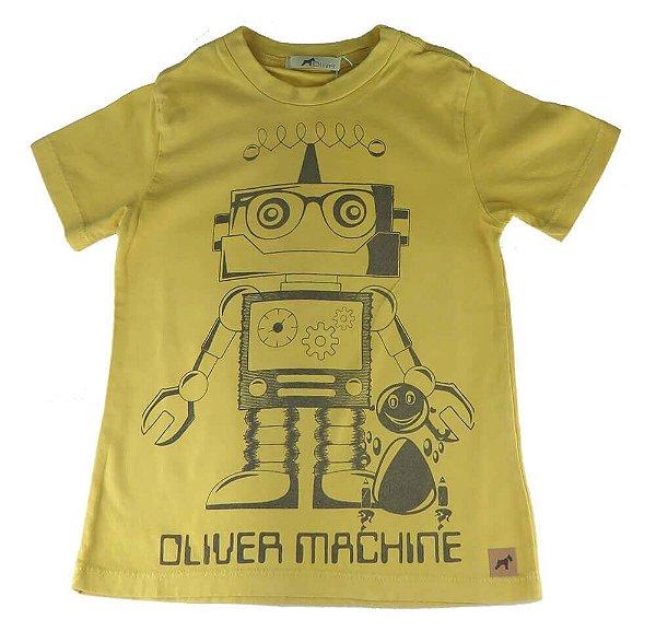 Camiseta infantil Oliver algodão robô bege amarelado