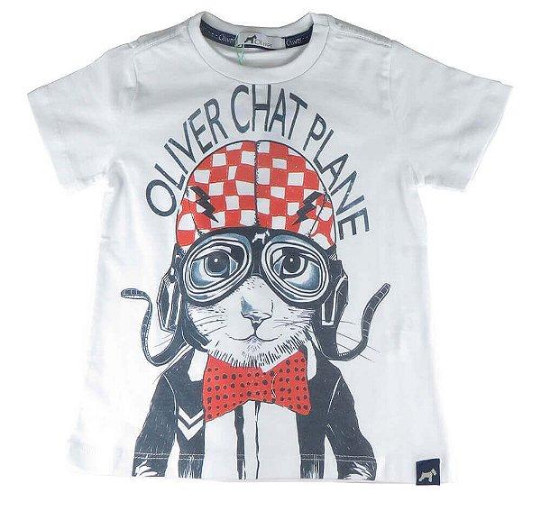 Camiseta infantil Menino Oliver branca gato aviador