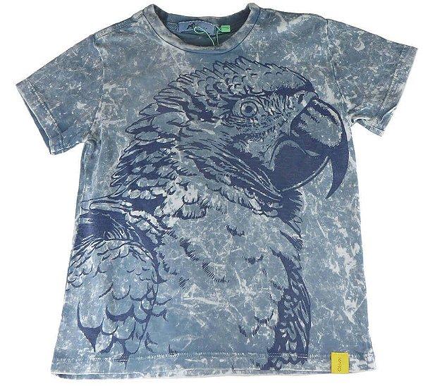 Camiseta infantil Oliver algodão arara azul camuflada