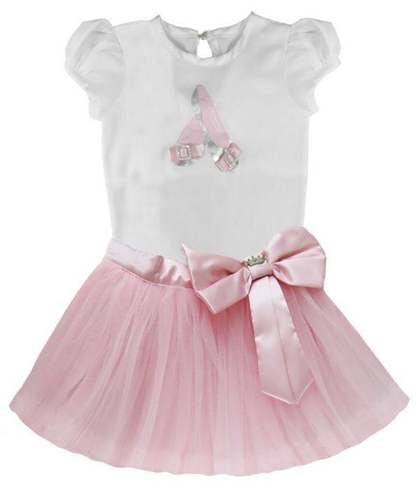 Conjunto bebê Gira Baby body bailarina com saia Tule rosa