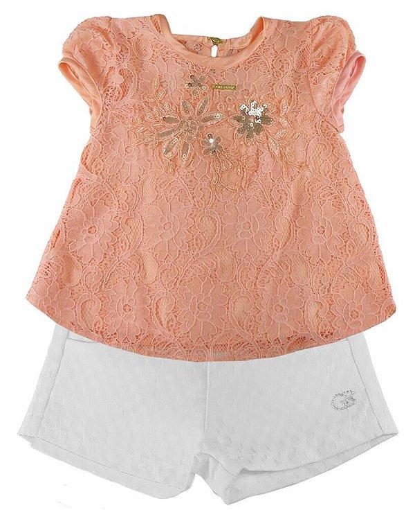 Conjunto infantil Gira Baby Bata salmão com shorts jacquard