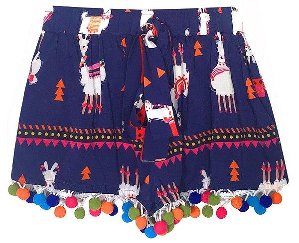Shorts infantil Das pompom lhama roxo azulado viscose