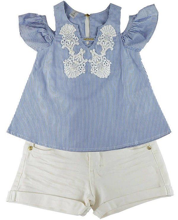 Conjunto infantil Gira Baby bata listrada com shorts