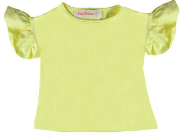 Blusa infantil Menina Das meninas amarela manga babada
