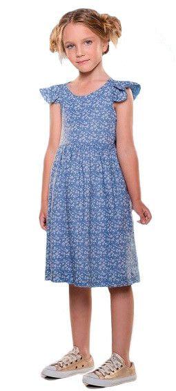 Vestido infantil Menina Que te encante azul floral camafeu