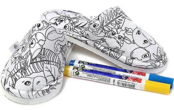 Pantufa infantil Win Design de Pintar Floresta  + 2