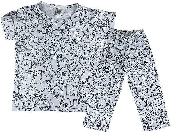 Pijama Infantil Win Design Monstrinhos + 5 Canetinhas