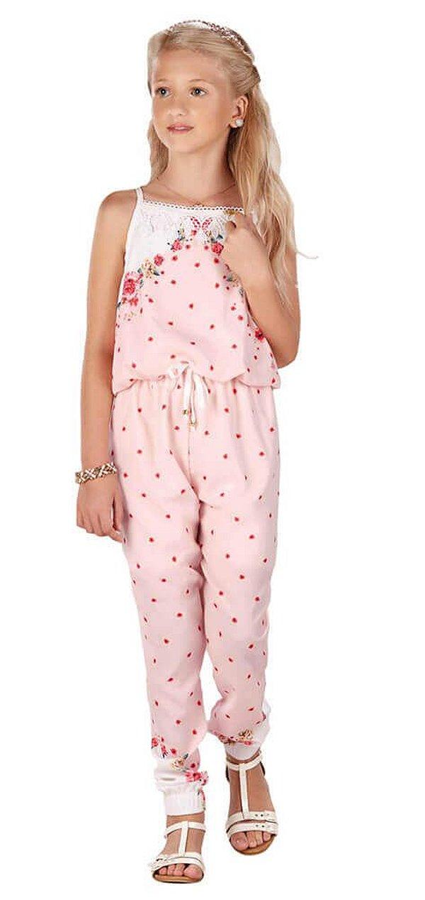 Macacão Infantil Menina Infanti Rosas -
