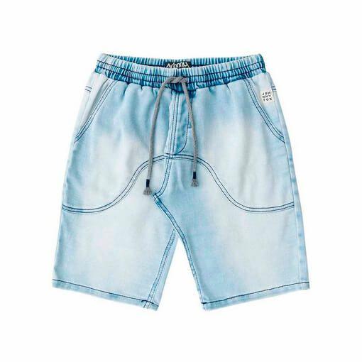 Bermuda Johnny Fox moletinho Infantil imita Jeans claro