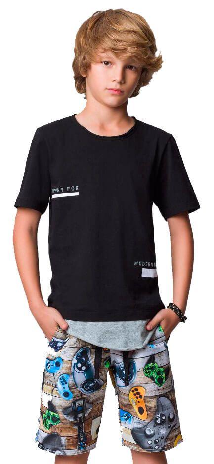 Camiseta Infantil Johnny Fox Longer Preta Modern Noise