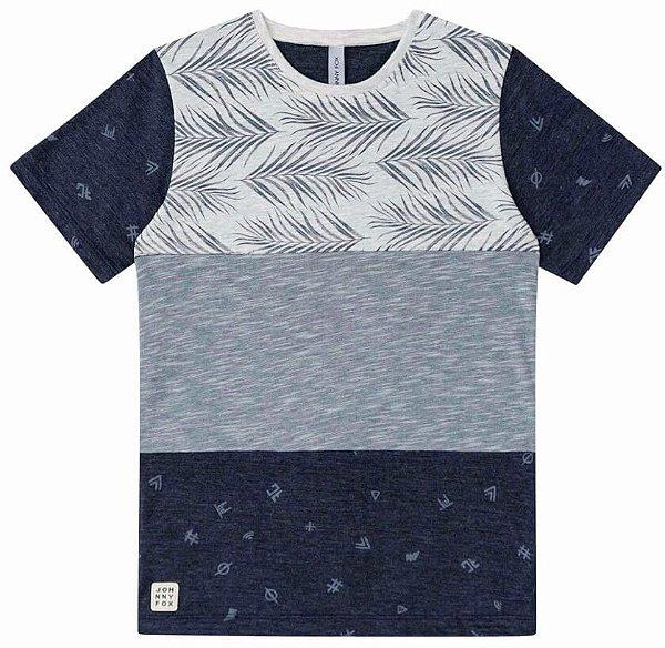 Camiseta Infantil Menino Johnny Fox Listras cinzas Folhas -