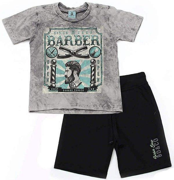 Conjunto infantil Banana Danger camiseta + bermuda moletinho