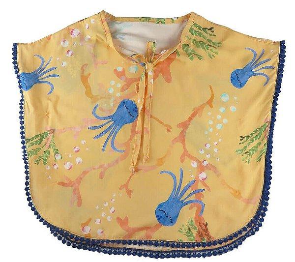 Blusa infantil feminina Mundo céu Laranja Polvo Kaftan  -