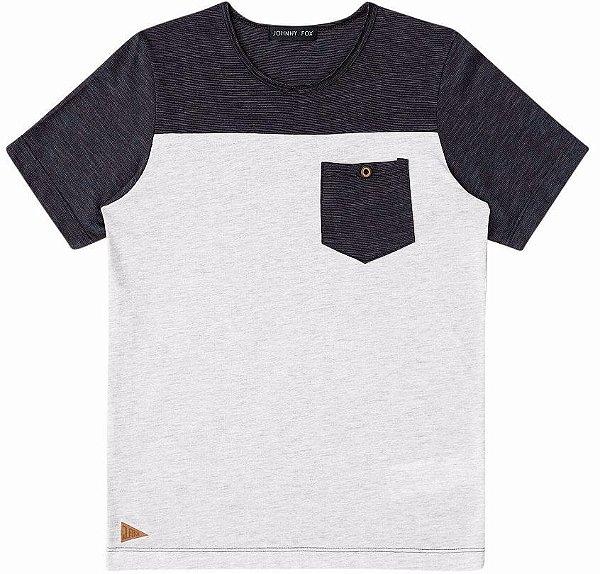 Camiseta Infantil Menino Johnny Fox Bicolor Bolso