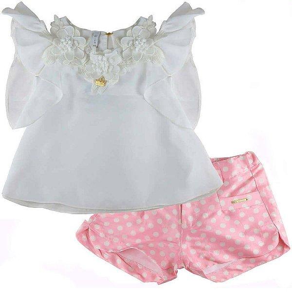 Conjunto infantil Gira Baby Bata Flores com Short Poá