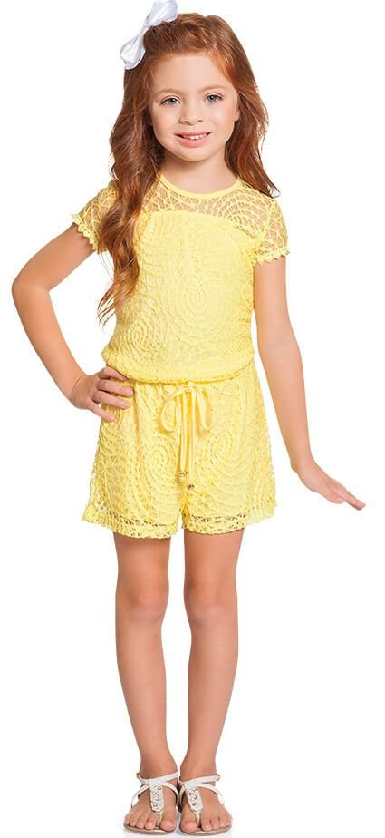 Macaquinho infantil feminino Ninali renda amarela