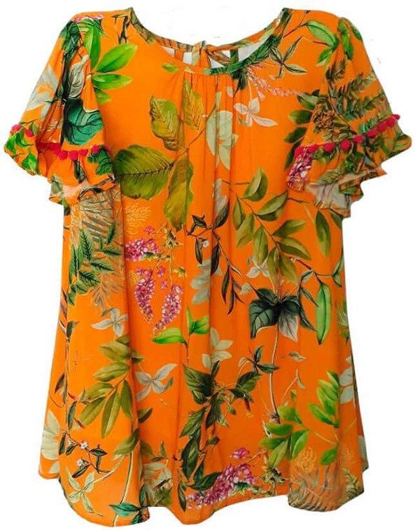 Vestido Infantil Mundo Céu Laranja Folhas pompom