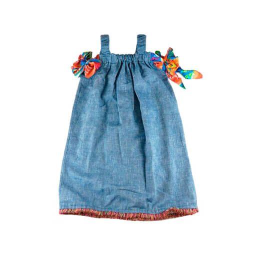 Vestido Infantil Das meninas Jeans Tassel na Barra