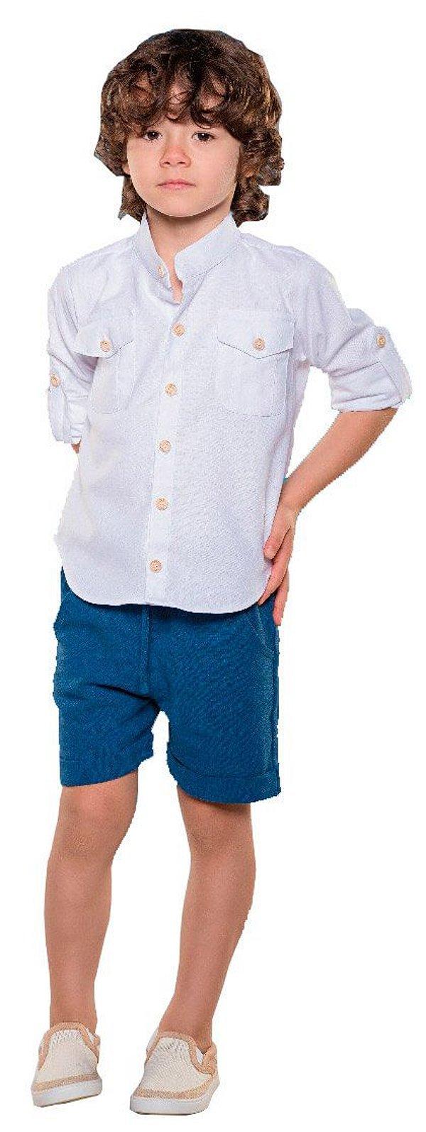 Bata Infantil Menino Que te encanteLinho e algodão branca