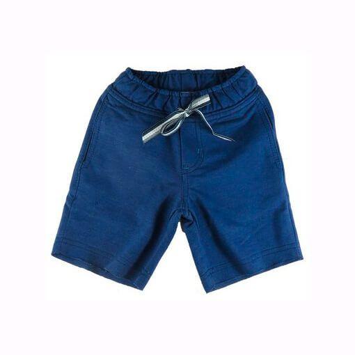 Bermuda infantil Menino Oliver Fleece e algodão azul marinho