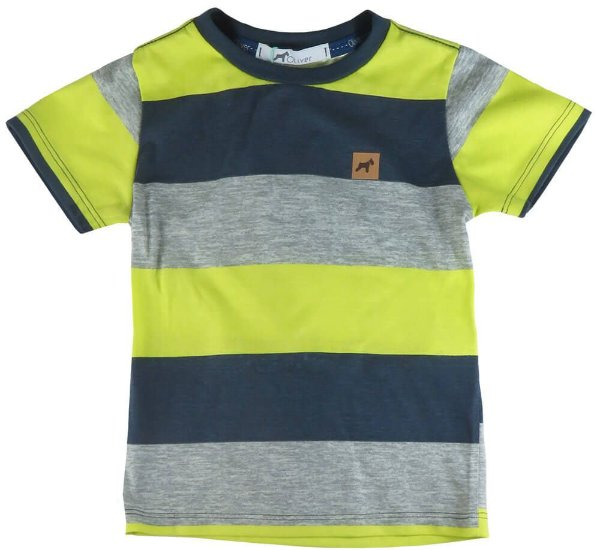 Camiseta infantil masculino Oliver algodão listra tricolor -