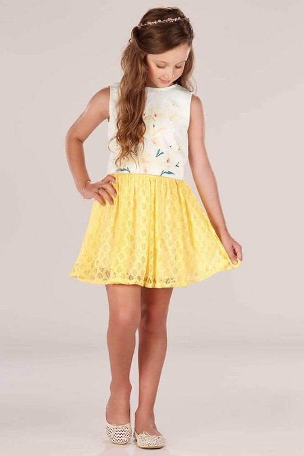 Conjunto infantil Infanti cropped Flores saia renda amarela