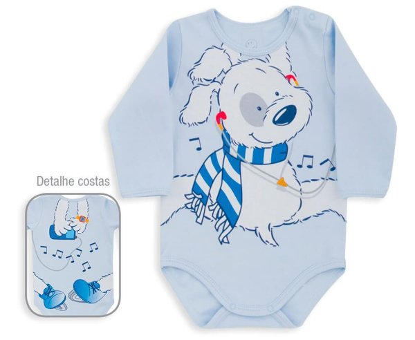 Body Bebê Menino Dedeka suedine dog azul bebê