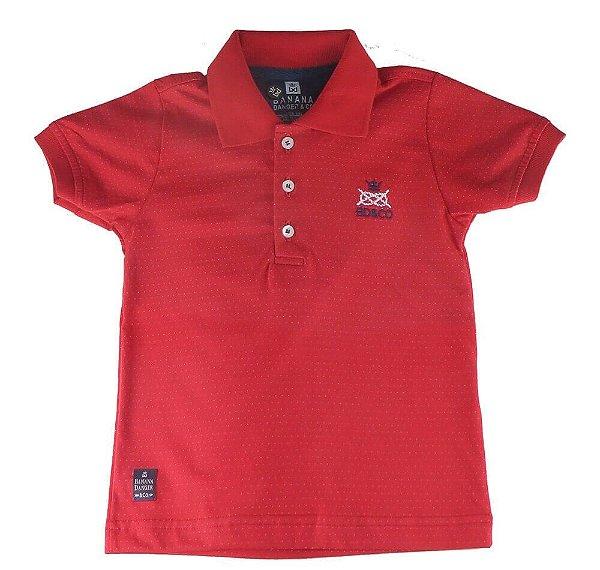 Camiseta polo Bebê Banana Danger vermelha mini poá branca