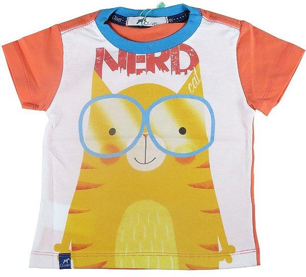 Camiseta Bebê Menino Oliver gato Nerd