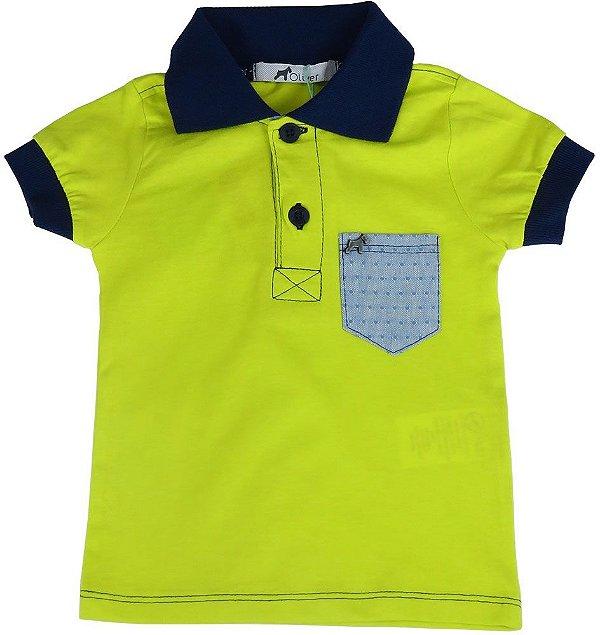 Camiseta polo Bebê Menino Oliver bolso jeans poá