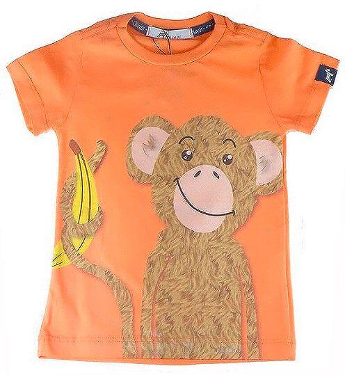 Camiseta Bebê Menino Oliver algodão Laranja Macaco