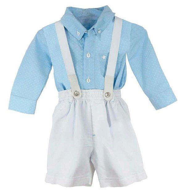 Conjunto Bebê Póssum: body camisa poá, bermuda e suspensório