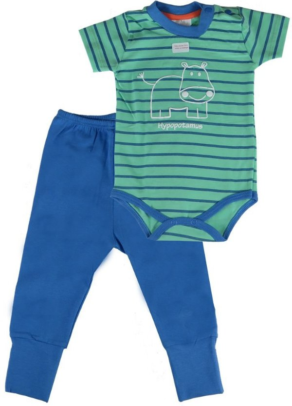 Conjunto bebê menino Baby Fashion body + calça hipopotamo