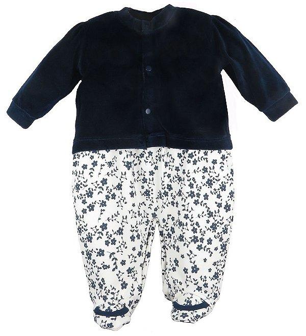 Conjunto bebê Baby Fashion Macacão flores + casaco plush