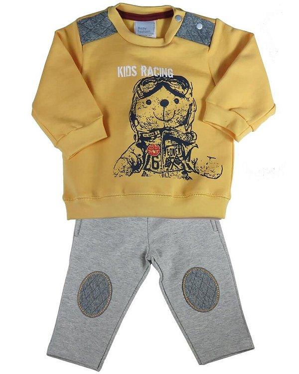 Conjunto bebê menino Baby Fashion aviador papaia -