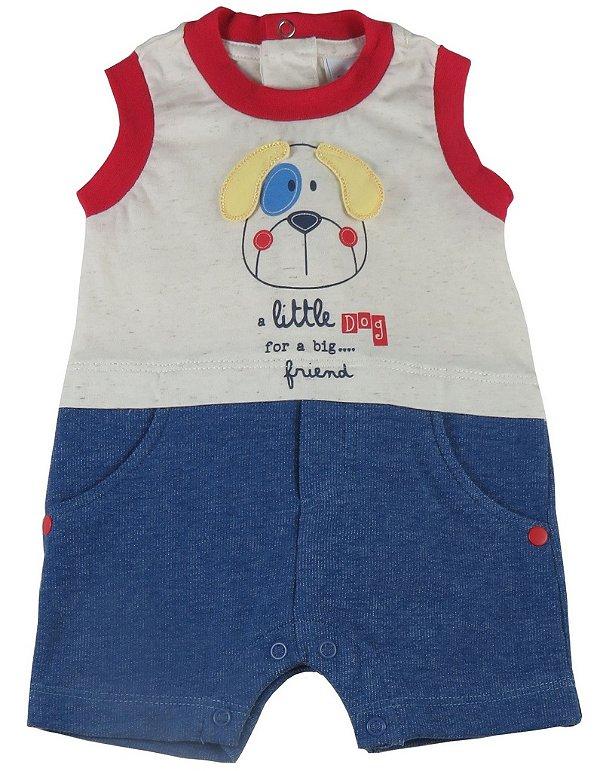 Macacão bebê menino Baby Fashion cachorrinho orelhudo