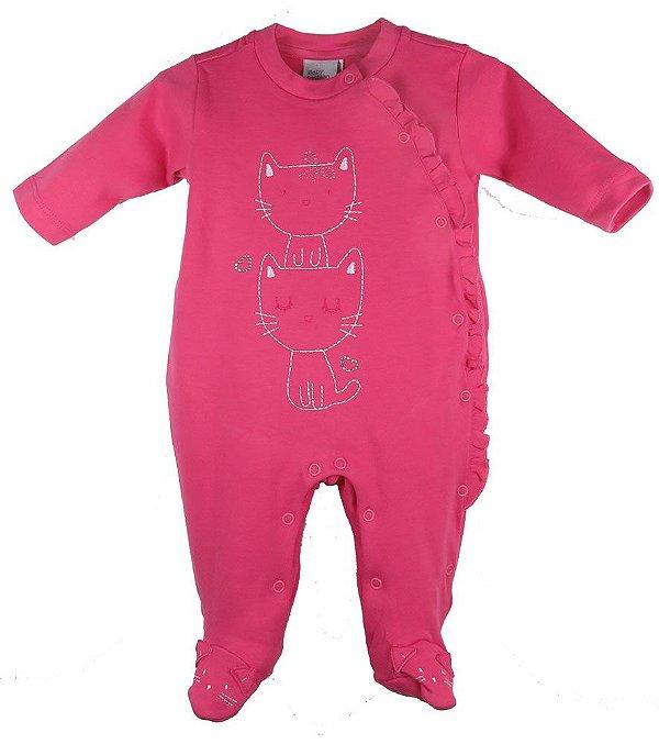 Macacão bebê menina Baby Fashion gatinhos   -