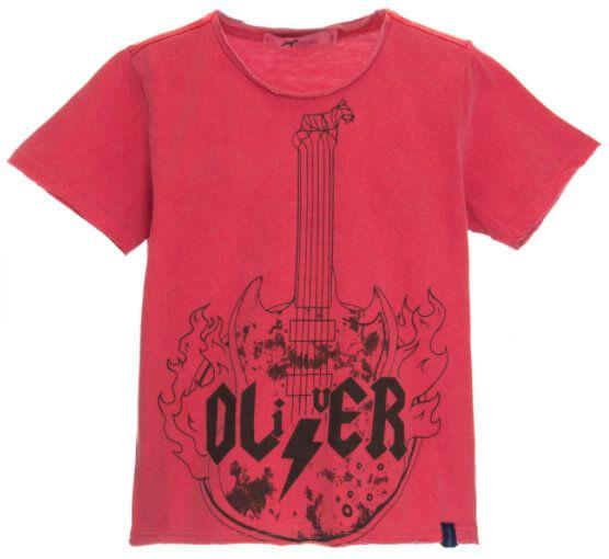 Camiseta infantil Oliver algodão guitar rock vermelha-