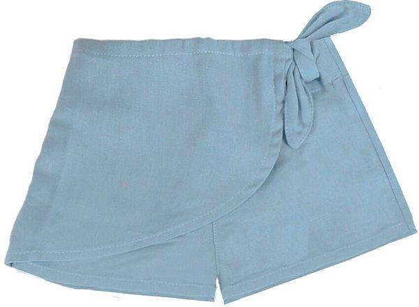 Saia shorts infantil Que te encante azul lyra linho