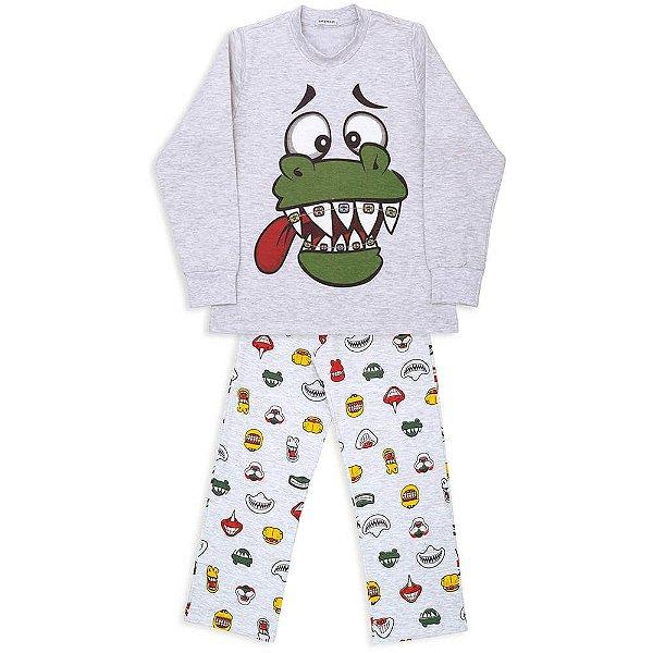 Pijama Infantil Dedeka Flanelado Dinossauro Sorridente