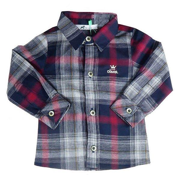 camisa Bebê Menino Oliver xadrez cinza vermelho bordô