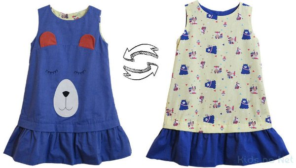 Vestido infantil Juliana Carrijófesta Dupla Face Urso
