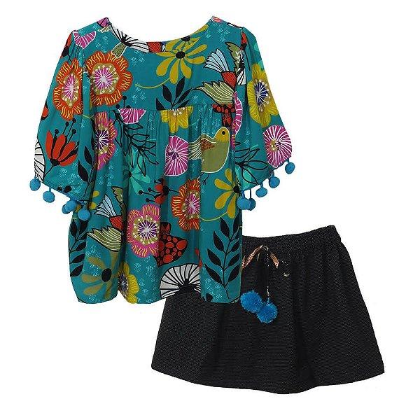 Conjunto infantil Das meninas Bata com saia bird botões