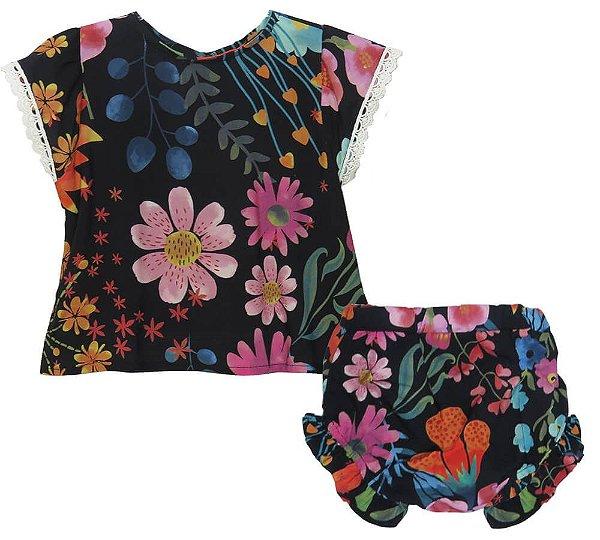 Conjunto Bebê feminina Das meninas Orquídeas