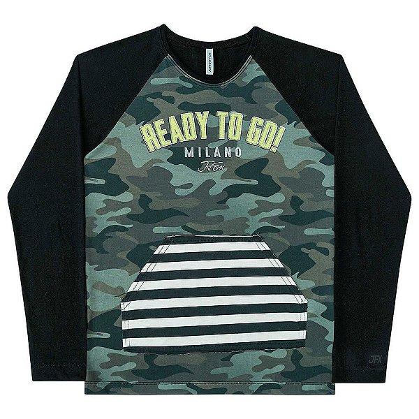 Camiseta Infantil Johnny Fox Manga Longa Militar Ready To Go