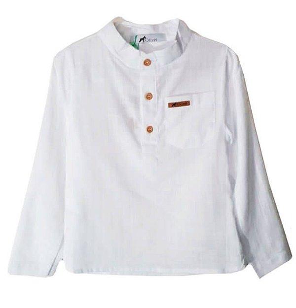 aa0055815a Camisa branca infantil Oliver Mini 100% algodão - Kids na Net - A ...