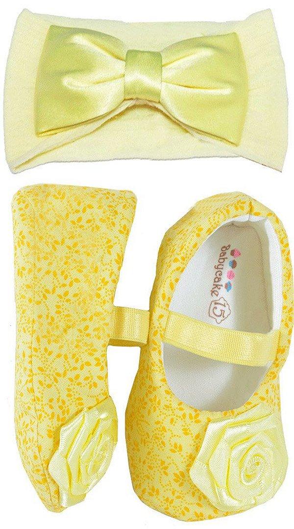 sapatinho Bebê Baby Cake macio amarelo floral + faixa cabelo