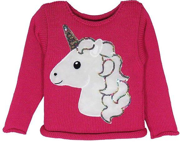 Blusa de Menina Kids na Net tricô Unicórnio Rosa Escuro