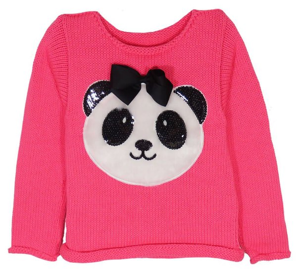 Blusa de Menina Kids na Net Tricô Pink Panda