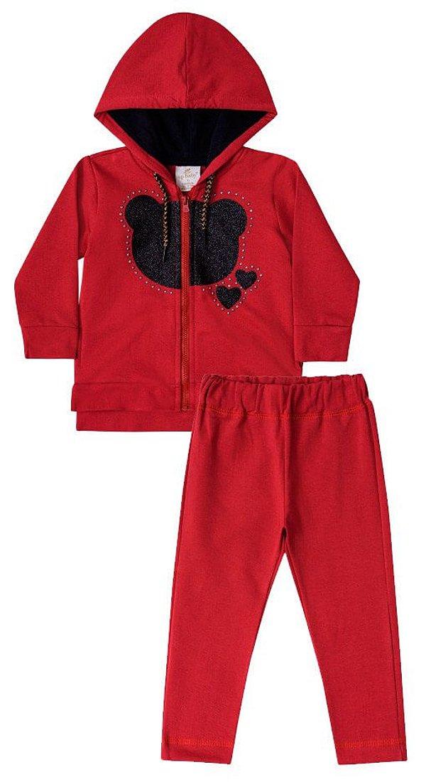 Conjunto infantil Up Baby Moletom Vermelho Escuro Urso